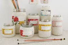 crochet mason jars  @Jeanne Clifford  - you have to see the whole post