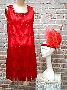 RED HOT FLAPPER DRESS FRINGED 1920s STYLE DANCE PARTY