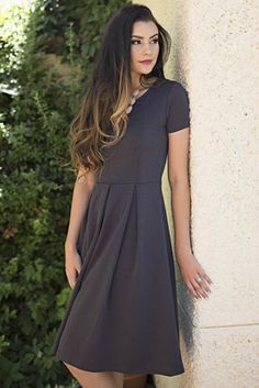 """This comfortable fit & flare dress can be accessorized to match any personality, or can be worn as-is to showcase its simplicity. The dark, beautiful color & figure-flattering fit makes it a great choice for a modest bridesmaid dress too!  """"Grace"""" Modest Dress in Charcoal Grey"""