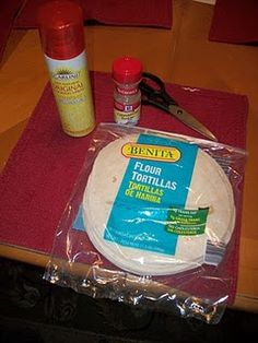 Snowflake Tortillas: flour tortillas - cinnamon sugar - cooking spray -kitchen scissors or clean pair of kids' scissors. Preheat Oven 350, fold tortilla in half or thirds, cut like snowflake, open up, brush with melted butter, sprinkl with cinnamon sugar mixture, bake until toasty.  Yummers! Good for snacky crafty idea for kids at school too.