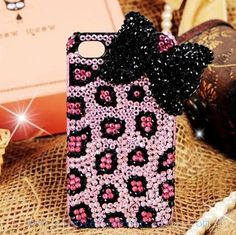 Luxury Crystals Swarovski Bling case,Bow Bow-tie Pink Leopard Print Case Cover For iPhone 4 iPhone 4S iPhone 5 Screen Protect handmade via Etsy