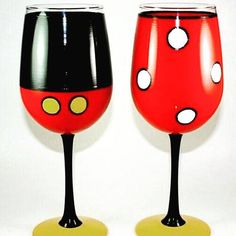 Hand painted Mickey or Minnie type goblets. Glass is 16oz. Can also be done on clear 20oz wine glasses for $20. Each glass is individually painted so no 2 are exactly alike! Specific colors can be requested. Personalization is optional. The glasses are oven baked for durability. Diy Wine Glasses, Decorated Wine Glasses, Hand Painted Wine Glasses, Wine Glass Crafts, Wine Craft, Engraved Glassware, Wine Glass Designs, Custom Glass, Directed Drawing