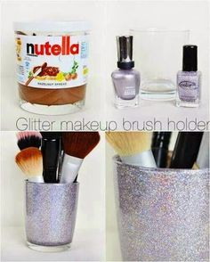DIY Glitter makeup brush holder / Create your own makeup or jewelry boxes. Inexpensive and original! DIY Glitter makeup brush holder / Create your own makeup or jewelry boxes. Inexpensive and original! Diy Makeup Storage, Make Up Storage, Makeup Organization, Diy Storage, Bedroom Organization, Storage Ideas, Makeup And Beauty Blog, Diy Beauty, Holographic Makeup