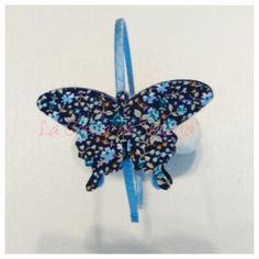 Diadema tocado mariposa liberty azul,