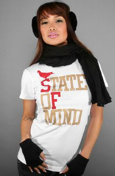 State of Mind (Women's White/Gold Tee) http://adaptadvancers.myshopify.com/collections/womens-classic-tees/products/state-of-mind-womens-white-gold-tee