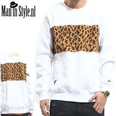 trui voor herfst en winter wit met luipaard print