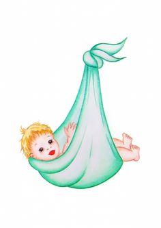 Baby in doek Dubbele wenskaart van Puck Handmade