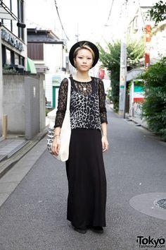 Nadia Staffer in Topshop cami & black maxi skirt
