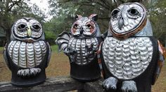 Barred Owl,Great Horned Owl & Barn Owl by Robin Rodgers Pottery