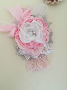 Oh La La Couture by Avry Couture-Pink Grey White Headband-Girls 1st Birthday Headband-Flower Girl Headband-Pink Baby Headband-Avry Couture