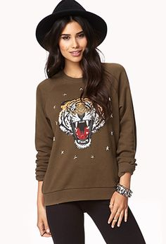 Studded Tiger Sweatshirt | FOREVER21 - 2000050968