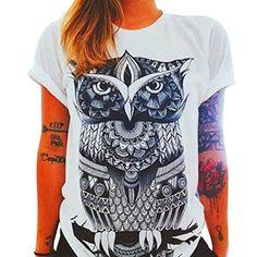 Hemd Damen Kolylong Frau Beiläufig Owl Drucken Muster T-Shirt