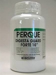 """Perque - Digesta Guard Fort? 10â""""¢ 150 caps by Perque. $59.00. Digesta Guard Fort? 10 150 caps Without FOS Dietary Supplement Perque products may only be purchased by Health Care Professionals. Patients who want to buy Perque products may obtain them from their Health Care Professional. Supplement Facts Serving Size: 1 capsule Servings Per Container: 150 Amount Per Serving: Alive, Energized Probiotic Organisms 5 billion B. Bifidum UABB-10 (formerly R0071) 500 million B...."""