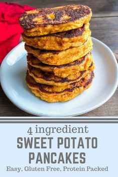 The best paleo breakfast, a great gluten free breakfast, and an easy healthy recipe! An easy breakfast with only 4 ingredients Recipes paleo Sweet Potato Pancakes - Choosing Balance Free Breakfast, Healthy Breakfast Recipes, Easy Healthy Recipes, Gluten Free Recipes, Easy Meals, Healthy Breakfasts, Cheap Recipes, Breakfast Ideas, Fall Recipes