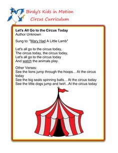 All Go to the Circus Today Song Preschool Summer Camp, Preschool Music, Preschool Lesson Plans, Preschool Themes, Preschool Classroom, Circus Crafts Preschool, September Preschool, Preschool Projects, Kindergarten Class