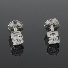 1/3 ct VVS1 Round Cut Diamond Solitaire Stud Earrings Screw Back Sterling #Stud #(I-E56)