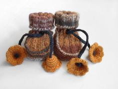 Hand Knitted Baby Booties with Crochet Bell Flowers -