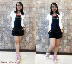 Leather Jumpsuit, White Jumpsuit, Red Tank Tops, Ootds, F21, Mustache, Overall Shorts, White Shorts, Moustache