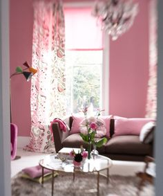 bohemian living space from Designers Guild Bohemian Living Spaces, Interior Decorating, Interior Design, Decorating Tips, Chinoiserie Fabric, Apartment Chic, Designers Guild, Pink Walls, Bedroom Styles