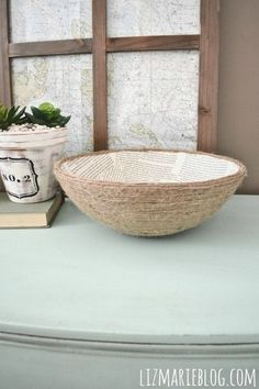 Easy decoupage rope bowl