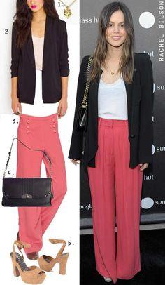 Rachel Bilson's wide leg pants and platforms