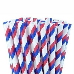 Sip on something patriotic with these red, white and blue striped paper straws :) perfect for a #fourthofJuly gathering with friends.