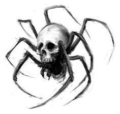 Best Spider Skull Tattoo Design - Black spider with skull face. Spider Drawing, Spider Art, Spider Tattoo, Tattoo Designs, Skull Tattoo Design, Skull Tattoos, Tattoo Sketches, Tattoo Drawings, Art Sketches