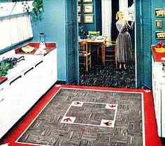 Fabulous Kitchen Flooring in Napleon Gray and Toledo Red (saltycotton) Tags: kitchen look vintage magazine bedroom ad advertisement diningroom 1950s flooring housewife 1951 kentile homeinteriors