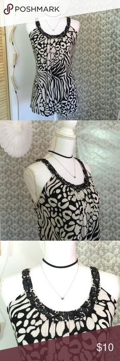 INC black/ patterned white beaded top Lightly worn 25 inches in length 14 inches in width fabric is 100% rayon INC International Concepts Tops