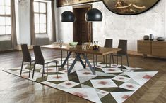 Tavolo in legno con base in metallo Cartesio - Calligaris CS/4092-R 250