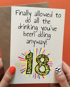 Funny 18th handmade birthday card. Not yet time? Pin it for later!