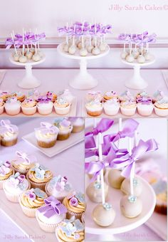 Cake pops and Cupcakes in Teals and Lilacs