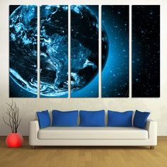 "Dark Blue Earth from Space - 5 Panel Split Canvas Print. Stretched on 1.5"" deep frames - Planet earth digital art print for interior design."
