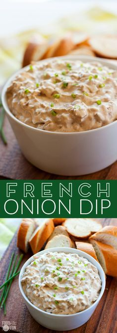 This homemade French Onion Dip recipe will make you ditch the packet for good! It's so creamy and tasty that people will be begging you for the recipe! | Super Bowl Recipe | Homemade Dip | Onion Dip | Sour Cream Dip | Game Day Recipe | Appetizer