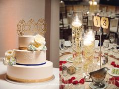 Gold and Navy wedding cake with white flowers | Aaron Huniu Photography | #gold #weddingcake #whiteflowers