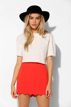 Cooperative Crepe Scallop-Hem Mini Skirt