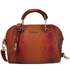 Sally Young Crocodile Grain Handbag with Bottom Metal Detail - Brown, £39.99 @ www.simplylb.co.uk