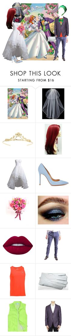 """Harley and Joker- Wedding Day"" by batgirl-at-the-disco3 ❤ liked on Polyvore featuring Hot Topic, Vera Wang, Miss Selfridge, Reception, Gianvito Rossi, Lime Crime, AT.P.CO, Under Armour, Gloves International and Etro"