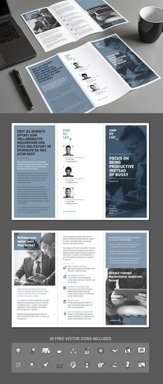 Typography and Layout Corporate trifold flyer by patastock on Creative Market Flyer Layout, Leaflet Layout, Leaflet Design, Brochure Layout, Brochure Template, Indesign Templates, Templates Free, Brochure Trifold, Unternehmensbroschüre Design