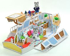 BOXED-Sylvanian-Families-Decorated-Pleasure-Boat-House-Marita-May-Figures-Lots