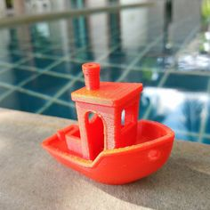 """""""First shot at the #3dbenchy 3D printing torture test! #3dprinting #calibration #testprint #red #sunny #summer #3dmodel #itdoesntactuallyfloat #virgin3d"""""""