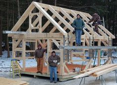 Frame only custom timber post and beam shelter insute cles bat support beams diy before and Connecticut Post BeamNh Post And Beam Kit Home Builder Small House Kits, Tiny House Living, Connecticut, Tiny Cabins, Cabins And Cottages, Barn Plans, Shed Plans, House Plans, Little Houses