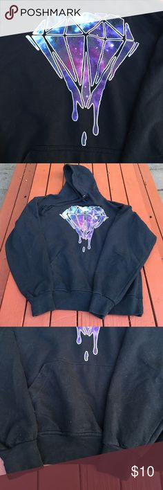 SALE✨Galaxy Diamond Drip Hoodie Size Medium. Galaxy Diamond Drip Hoody. New without tags but I washed it though... I tried showing the slight wrinkles in decal, in pictures. Wicked awesome hoody! Back is black Tops Sweatshirts & Hoodies
