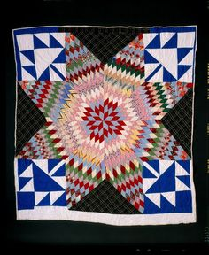 Lone Star with Maple Leaf Corners  created by Mable Murphy, b.1894-d.1996, owned by Eli Leon, posted by Sherry A. Byrd: