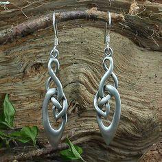 Keltischer Knoten lang, Ohrhänger Ohrringe Kelten, Silber, matt o. poliert, Larp