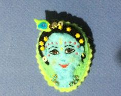 Deliciously lovable Krishna brooch art perfect by RememberKrishna felt craftiness