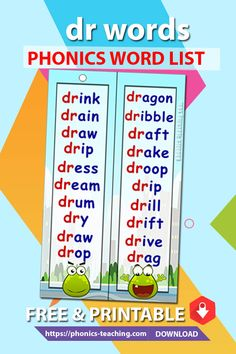 dr Phonics Cards - FREE Phonics Activity - Printable Word List - A great bookmark which makes for ideal phonics practice for older kids. Will make your phonics revision effective Phonics Lessons, Phonics Activities, English Lessons For Kids, Learn English Words, Phonics Flashcards, Phonics Cards, Teaching Vowels, Learning Websites For Kids, Phonics Reading