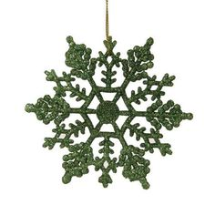 4 inch Christmas Green Glitter Snowflake Christmas Ornament 24 per Box