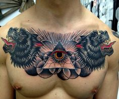Virginia Elwood - Wolves + eye of providence chest piece