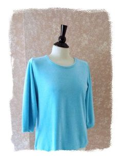 Stylish Quacker Factory S tunic top 3/4 sleeve beads sequins aqua blue womens small #QuackerFactory